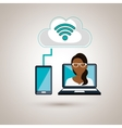 woman laptop wifi smartphone vector image