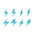 Set of blue lightnings isolated over white vector image