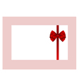 Gift Card With Red Ribbon And A Bow vector image