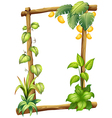 A frame made of wood with mangoes vector image