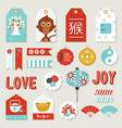 Chinese new year 2016 monkey set cute label tag vector image vector image