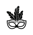 Carnival mask with feathers icon simple style vector image