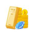 gold bullion coins and diamond wealth savings vector image
