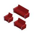 isometric sofa and armchair set vector image