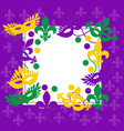 mardi gras elegant purple frame place for text vector image