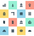 set of 16 simple architecture icons can be found vector image