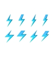 Set of blue lightnings isolated over white vector image