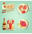 Sea Food Cartoon Icons vector image