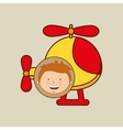 boy lovely smiling helicopter graphic vector image