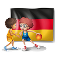 The flag of Germany with the two athletes vector image vector image