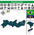 map of pernambuco brazil vector image