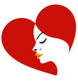 Logo for fertility clinic- face in a red heart sho vector image vector image
