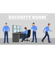 Security room and working guards concept vector image