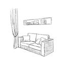 Hand drawn sofa sketch vector image