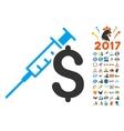 Drug Business Icon With 2017 Year Bonus Symbols vector image