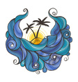 Ink doodle waves with palms vector image