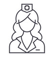 woman doctor nurse line icon sign vector image