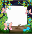 Floral Butterflies White Frame vector image