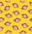 monkey seamless pattern yellow vector image