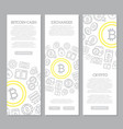 set of three digital money and bitcoin vertical vector image