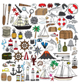set of objects symbolizing navigation vector image vector image