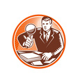 Businessman Magnifying Glass Looking Documents vector image