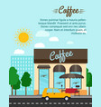 coffee shop with city landscape banner vector image