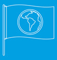 flag with world planet icon outline style vector image