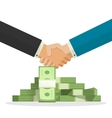 Handshake near money pile vector image