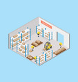 interior warehouse with worker isometric view vector image