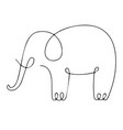one line elephant design silhouette hand drawn vector image