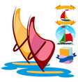 sailing windsurfing ice cream set of color on the vector image