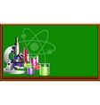 Science equipment and blackboard vector image