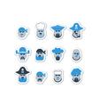 Pirate ship crew avatars set vector image