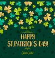 green card for patricks day with golden shamrock vector image