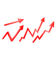 3d bright graph arrows set grow vector image