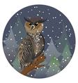 Owl in Night Forest2 vector image