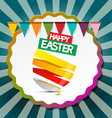 Happy Easter Retro Label Background with Flags and vector image