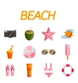 Beach flat icon set vector image