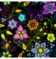 Black seamless floral pattern vector image