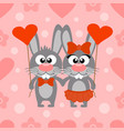 valentines day seamless card with rabbits vector image