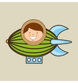 boy lovely smiling airship graphic vector image
