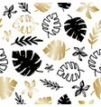 gold and black tropical leaves seamless pattern vector image