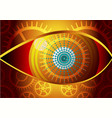 eye design concept curved lines and gear gold vector image