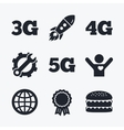 Mobile telecommunications icons 3G 4G and 5G vector image