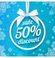 Fifty percents Christmas sale discount white vector image