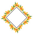 frame with flowers yellow vector image