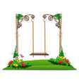 wooden swing in the garden vector image