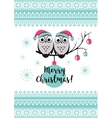 Template card with cute owls on a tree vector image