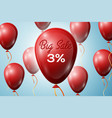 red balloons with an inscription big sale three vector image
